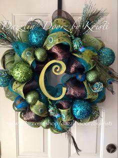 Exquisite Peacock Christmas Initial Wreath by DazzlinDoorzbyKristi, $115.00