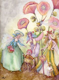 """fairy hats"" by Laurel Nelson: fairies going on a picnic amidst flowers wearing fancy hats // Buy prints, posters, canvas and framed wall art directly from thousands of independent working artists at Imagekind.com."