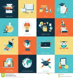 set-flat-design-icons-education-online-video-tutorials-staff-training-online-book-store-learning-45106744.jpg (1300×1390)