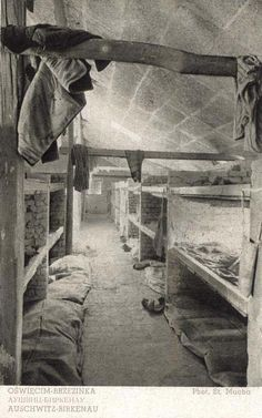 Interior of the brick barrack in Birkenau some time after the liberation. (Photo. Stanisław Mucha)