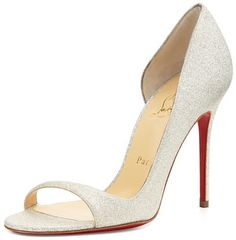 Christian Louboutin Toboggan Glitter Leather Red Sole Pump, Ivory http://shopstyle.it/l/ibxZ