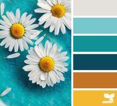 daisy palette by {design seeds} Colour Pallette, Color Palate, Colour Schemes, Color Combos, Color Patterns, Beach Color Palettes, Colour Board, Color Swatches, Color Theory