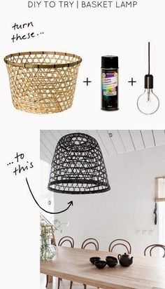 Diy Projects To Try, Craft Projects, Diy Luz, Diy Pendant Light, Pendant Lamps, Cheap Pendant Lights, Diy Chandelier, Chandeliers, Deco Luminaire