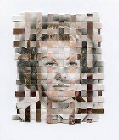 Greg Sand's woven art    Remnants is a series about recollection and remembrance. Each 'remnant' in the series is composed of three found photos—each from a different point in the subject's life—that have been cut into strips and woven together to form a portrait of a person who has passed away. Remnants uses cloth as a metaphor for memory.
