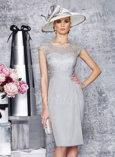 Mother of the Bride Dresses - $116.85 - Sheath/Column Scoop Neck Knee-Length Chiffon Lace Mother of the Bride Dress With Ruffle (0085099921)