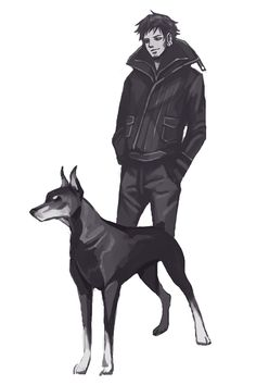 The Strawhats with their dogs BONUS: Law & a doberman pinscher (by hazelisque on tumblr)