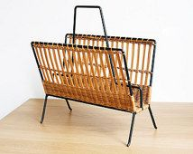 vintage magazine rack, wicker and metal magazine holder, furniture, vintage home decor
