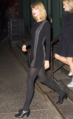 Taylor Swift looks elegant in black for a night out on the town.