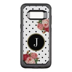 Girly Black White Dots Vintage Flowers Monogram OtterBox Commuter Samsung Galaxy S8 Case - initial gift idea style unique special diy