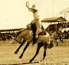 Prairie Rose Henderson - Big Cowgirl hats were all the rage back in the 1910's with the Rodeo set.  Prairie Rose is here participating at the Pendleton Round Up, in Oregon.