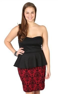 #Deb Shops                #Skirt                    #Plus #Size #Strapless #Dress #with #Peplum #Bodice #Brocade #Print #Skirt    Plus Size Strapless Dress with Peplum Bodice and Brocade Print Skirt                                    http://www.seapai.com/product.aspx?PID=1873388