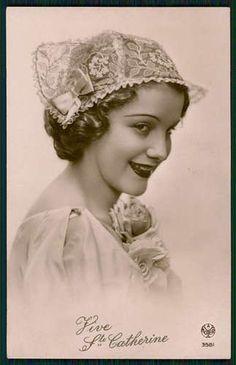 Fashion Lady Fantasy Lace Cat Hat Woman Original 1940s Kitch Photo Postcard B0 | eBay