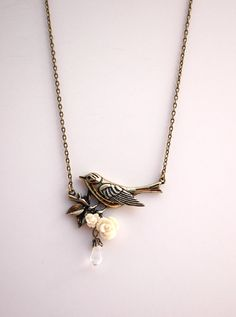 Antique Brass Bird and Flower Necklace Buy 3 by BrittanyChavers