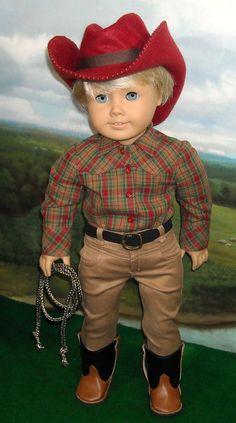 Cowboy Outfit fits 18 Inch Dolls by SugarloafDollClothes American Boy Doll, American Girl Clothes, Cowboy Outfits, Girl Outfits, Ag Dolls, Girl Dolls, 18 Inch Boy Doll, Pixie, Felt Cowboy Hats