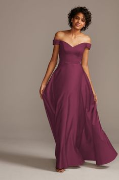 Searching for stunning plus size bridesmaid dresses for your bridal party? View David's Bridal expansive collection of elegant plus size bridesmaid dresses in great colors and styles! Dark Purple Bridesmaid Dresses, Off Shoulder Bridesmaid Dress, Dark Purple Dresses, Black Bridesmaids, Davids Bridal Bridesmaid Dresses, Bridesmaid Dresses Plus Size, Mothers Wedding Dresses, Royal Purple Wedding, Bridesmaid Ideas