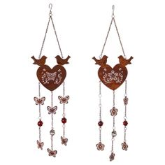 Rusty Look Heart Hanger with Bird & Patterned Design - Two Designs Available