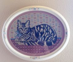 Vintage Oval Kitty Framed Art/Wooden Frame by LosChapines on Etsy