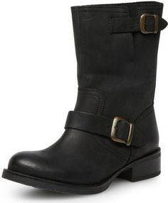 Black leather biker boots