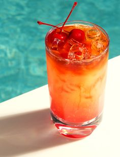 Mai Tai from Bare at The Mirage in Las Vegas ~In a rocks glass filled with ice, combine the following ingredients: 3/4 ounce Bacardi Silver, 3/4 ounce Malibu, 2 ounces orange juice, 2 ounces pineapple juice, and a splash of grenadine. Float it with Myers Rum.