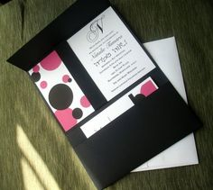 Modern Bat mitzvah Invitation - Pink Black Polka dot Purse Pocket fold Ribbon