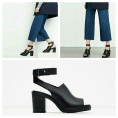 Zara leather sandal (6600) New with tag. EUR 39 US 8. Upper 100% cow leather. Lining 100% polyurethane.  Black leather high heel sandals. Strap and buckle ankle fastening. Wide heel and track sole.  Height 7,8 cm Zara Shoes Sandals