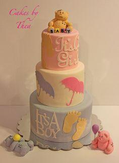 Baby shower for three - by Bakermama @ CakesDecor.com - cake decorating website