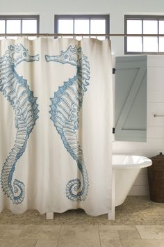 Seahorse Shower Curtain design by Thomas Paul