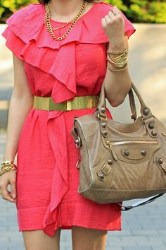 hot pink + chunky gold