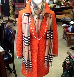 Burberry coat and scarf