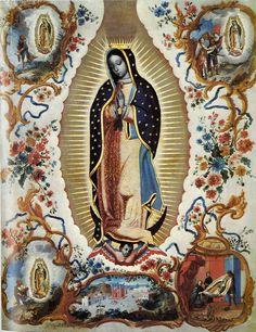 Miguel Rodríguez, Virgen de Guadalupe con las cuatro apariciones y panorámica de la Villa de Guadalupe, óleo sobre tela, ca. 1750, sin medidas, colección particular, catalogación: Juan Carlos Cancino.