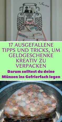 17 ausgefallene Tipps und Tricks, um Geldgeschenke kreativ zu verpacken. Darum solltest du deine Münzen ins Gefrierfach legen 17 Tricks und Ideen, Geldgeschenke richtig zu verpacken #diy #geschenk #verpacken #kreativ #geldgeschenk #geld Flower Aesthetic, Gift Baskets, Creative, Birthday, Projects, Cards, Armin, Gifts, Diy