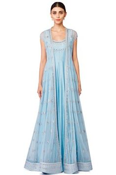 Featuring a powder blue floor length front open net anarkali jacket with silver gota patti embroidered floral bootis placed all over. It has gota work along front slit and on border. It comes along with a matching panelled cotton georgette gown with gota patti work on neckline. It has tasseled dori closure at the back by ANITA DONGRE Shop now-www.carmaonlineshop.com