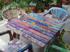 Garden table and chair makeover using Decopatch.