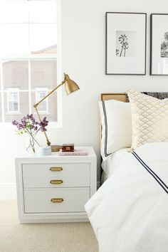 Industrial Task Brass Table Lamp + Nailhead Burlap Upholstered Headboard from west elm