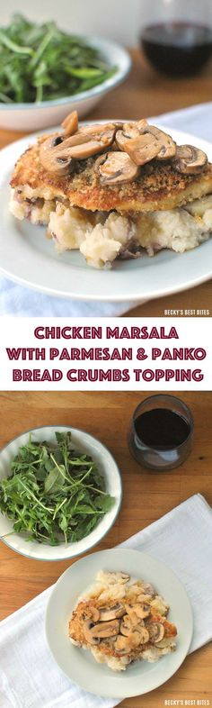 This Chicken Marsala with Parmesan and Panko Bread Crumbs Topping recipe is your secret for turning an average week night meal to an award winning feast! See how you can make this yourself tonight!