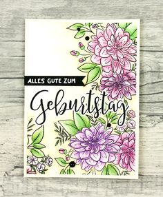 wieesmirgefaellt.de | Schnelle Blümchenkarten - Qickly made flower cards | Wplus9 Dahlia | Aquarell - water color