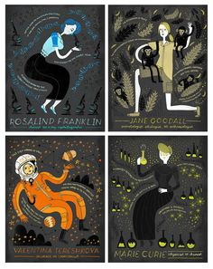 Celebrate women in science with all four of these prints! Jane Goodall, Valentina Tereshkova, Rosalind Franklin and Marie Curie have all