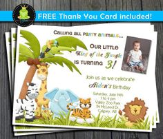 Jungle Birthday Invitation $12 #jungleinvitation #junglebirthday #jungleparty