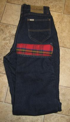 Vintage LL Bean 5 Pocket Boot Cut Dark Denim Jeans Flannel Lined Union Made 12 #LLBean