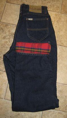 Vintage LL Bean 5 Pocket Boot Cut Dark Denim Jeans Flannel Lined Union Made 12 #LLBean