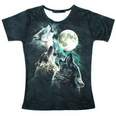 Three Wolves Howling At The Moon Aurora Sky Animal Print Graphic Tee T-Shirt for Women $17.60 #wolves #animals #nature #tshirts #fashion