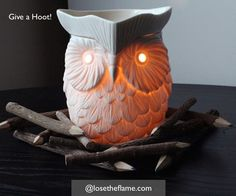 Whoo whoo! #Whoot is a piece of art, a finely detailed #warmer that glows #golden when on.  #losetheflame #owls