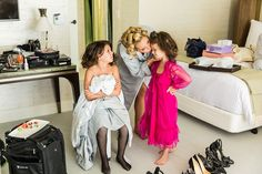 Bride kisses flower girls as they get ready for the ceremony at the Château Marmont Hotel. #ceremony #wedding #gettingready #jewishwedding #losangeleswedding #blacktie