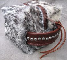 TEMPORARILY OUT OF STOCK! Red/White Cowhide Small Cosmetic Bag by Running Roan Tack