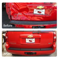 Check out the work we did on this red Tahoe! #before #after #work #transformation #autobody