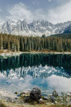 Carezza lake and Latemar mountains, the Dolomites, Italy. Landscape Photography, Nature Photography, Travel Photography, Places Around The World, Around The Worlds, Beautiful World, Beautiful Places, Nature Sauvage, Italy Landscape
