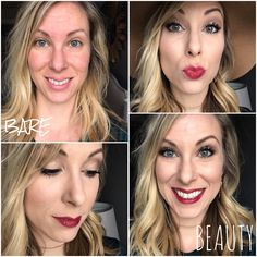 Bare to Beauty! All Younique look: Glorious Primer, Eye Primer, Touch Liquid Foundation, Skin-Perfecting Concealer, Powder Foundation, Beachfront Bronzer, Pressed Blusher, Addiction Palette #1, Proper Eyeliner Pencil, Prim Eyeliner Pencil, 3D Fiber Lashes, and Sultry Stiff Upper Lip Stain.