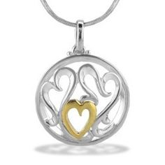"""18K Yellow gold and sterling silver Mom Heart pendant. Pendant measures approx 15/16"""". 18"""" Sterling silver chain included."""