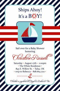 Sailboat Baby Shower Invitation   Ahoy Itu0027s A Boy Invitation   Digital  Printable Invite   Nautical Invitation   Sailboat Baby Showers, ...