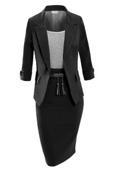Womens Fitted Classic Blazer And Skirt Suit Set